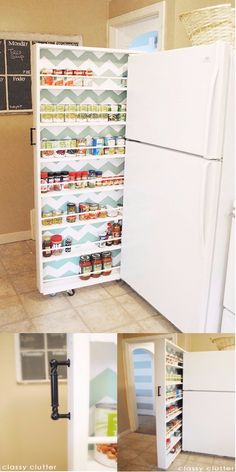 If you have a small kitchen and don't have enough space to store canned food then try this idea. This DIY pull out sliding tiny pantry shelve will go perfectly for your tiny kitchen and keep it well organized. You can make this slide out pantry shelve on any narrow space such as between the fridge and the wall. This is a perfect kitchen storage idea with sleek, narrow and various shelves to keep your canned food saved and organized.