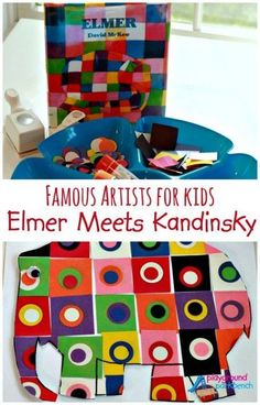 Artists for Kids: Elmer Meets Kandinsky Famous Artists for Kids: Love this Elmer Kandinsky mash-up! So perfect.Famous Artists for Kids: Love this Elmer Kandinsky mash-up! So perfect. Famous Artists For Kids, Arte Elemental, Elmer The Elephants, Kandinsky Art, Kandinsky For Kids, Kindergarten Art, Art Classroom, Art Activities, Teaching Art
