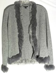 New LAFAYETTE Heather Gray Wool/Cashmere Sweater-Sequins - Silk/Fur Trim -Small #Lafayette148NewYork #Cardigan