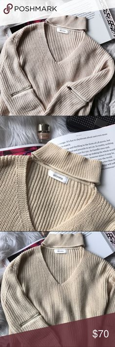 STORETS Choker Neck Zipper Elbow Sweater Only worn once! Super on-trend elbow zippers and choker neck detail. Cream color! Fits a small medium. Storets Sweaters
