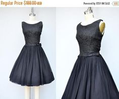 SALE 50s Black Dress  Silk Brocade Dress  Black ROSES Silk