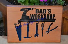 Personalized Dad's Workshop outdoor sign Outdoor Wood Signs, Pacific Place, Sign Design, Workshop, Dads, Atelier, Work Shop Garage, Fathers