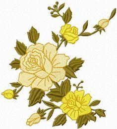Yellow Rose free machine embroidery design. Machine embroidery design. www.embroideres.com