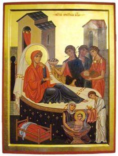 Elder Joseph of Vatopaidi The Nativity of the Mother of God, the Consolation of Humankind (part Byzantine Icons, Byzantine Art, Nativity Painting, Art Icon, Orthodox Icons, Aboriginal Art, Christian Art, Blogger Themes, Catholic