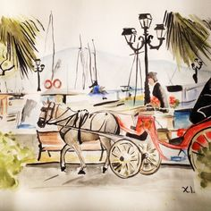 The trip to Aegina. Horse and Carriage Water color painting 35 x Watercolor Paintings, Greece, Arts And Crafts, Horses, Handmade, Beautiful, Greece Country, Hand Made, Water Colors