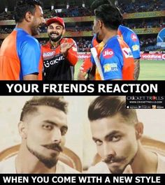 Virat Kohli and Praveen Kumar's reaction after seeing Ravindra Jadeja in new look #GLvRCB#IPL2017 For more cricket fun click: http://ift.tt/2gY9BIZ - http://ift.tt/1ZZ3e4d