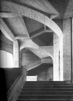 Rudolf Steiner's Second Goetheanum, Interior poured concrete stairs during construction of Rudolf Steiner's second Goetheanum.
