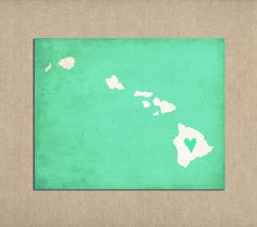 State Art Hawaii Silhouette Map Personalized Print. $16.00, via Etsy.