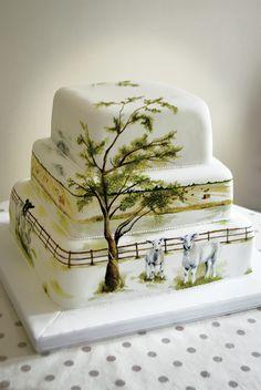 Ферма Свадебное Дерево Торт Окрашенные MurrayMe