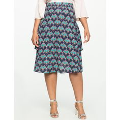 ELOQUII Side Flounce Midi Skirt ($90) ❤ liked on Polyvore featuring skirts, white stretch skirt, print midi skirt, frilly skirt, elastic skirt and mid calf skirts