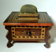Antique Parquetry, inlaid wood, Folk Tramp Art sewing box, with pin cushion and drawer.