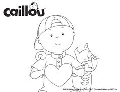 Caillou Coloring Sheet – February Love!