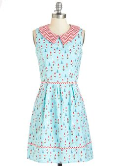 All Eyes on Unique Dress in Gnomes. Your quirky ensembles always earn you attention, and this playfully printed A-line continues your tradition of extraordinary style! #blue #modcloth