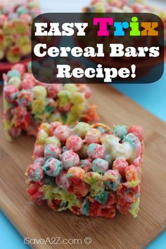 Easy Trix Bars Recipe and you can make them with only 2 ingredients!  Kids love these!!!  #EasyRecipes |  iSaveA2Z.com
