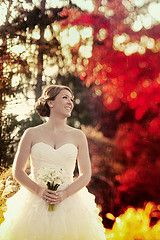 Bride picture through the leaves