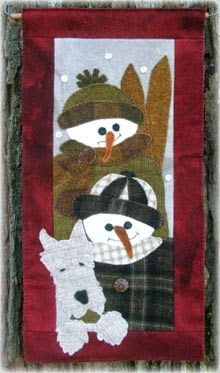 """Snow Kids Wool Applique Wallhanging 11"""" by 22"""""""