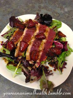 Seared Ahi Tuna Salad with Strawberry Balsamic Reduction
