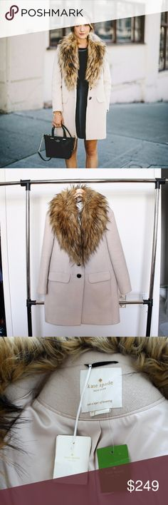 NWT Kate Spade faux fur collar coat NWT, wool blend pea coat with a generous helping of beautiful faux fur. kate spade Jackets & Coats Pea Coats