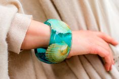 Real Seashells Bangle. Light Blue Sea Color Bracelet. Like Turquoise Waters of an Exotic Island. Modern Summer Bracelet. Nautical style