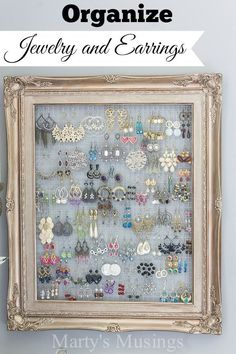 This DIY framed jewelry and earring organizer from Marty's Musings is created inexpensively from a yardsale frame and chicken wire. Perfect for hanging necklaces or earrings. #earringorganizer #jewelryorganizer #jewelryorganizerwall #jewelrydisplay #jewelryholder #DIYearringholder #martysmusings