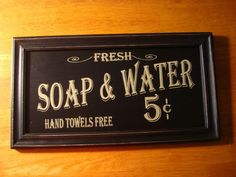 Vintage Style SOAP & WATER Hand Towels Free Bathroom Home Wall Decor Sign NEW #OhioWholesale #RusticPrimitive