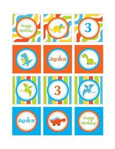 DIY Printable Dinosaur Cupcake Toppers by PinkMonkeyPartyPrint, $8.00