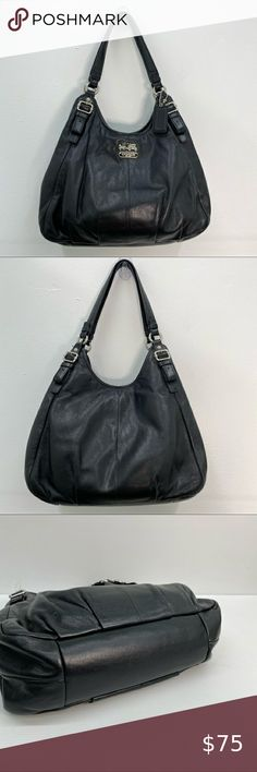 Coach Handbags, Leather Shoulder Bag, Shopping Bag, Gym Bag, Black Leather, Fashion Tips, Fashion Trends, Flats, Check