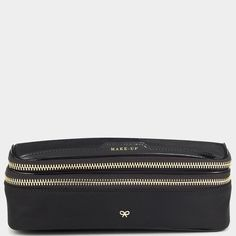 Make-Up Bag, black, with brush holder, 13.5 cm h x 20.5 cm w x 7 cm d, 195 GBP