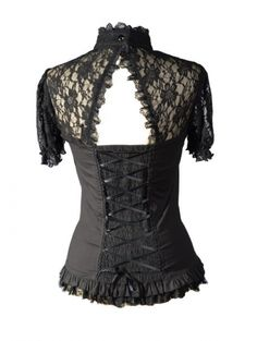 Black Sexy Short Lace Sleeves Corset Style Womens Gothic Tops - Devilnight.co.uk