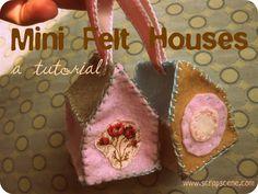 Tutorial: Miniature Felt Houses ... http://www.scrapscene.com/2010/11/tutorial-miniature-felt-houses.html