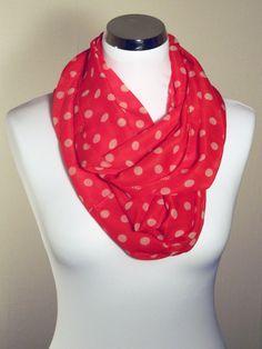 d35c73b20d26 Foulard tube snood été femme motifs pois, fond de couleur rouge pois blanc