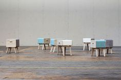 Good idea! Stackable drawers/stools! This is perfect for our tiny condo. :-)