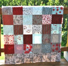 FREE SHIPPING-Rustic, Christmas, Rag Quilt- Throw Blanket Featuring Winter's Lane by Moda Fabric