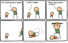 Tidy your room at once / Cyanide and Happiness :: belt :: fighting :: comics (funny comics & strips, cartoons) Memes Humor, Funny Memes, Jokes, Funny Gifs, Videos Funny, Cyanide And Happiness Comics, Wwe Funny, Humor Grafico, College Humor