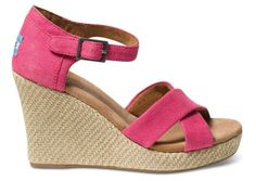 Pink Hemp Women's Strappy Wedges   TOMS.com #toms    Or these... I love the shade of pink!
