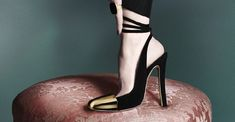 """YSL """"Ingenue"""" suede and brass heel. So beautiful it hurts. (photography courtesy of YSL's shoe ad campaign)"""