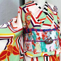 グリーンに折り鶴縮緬袷着物/アンティーク - ポップでガーリーな普段着物・ヘッドドレス・古道具・雑貨・アンティークやアーティスト作品の販売 『chiwachiwa ちわちわ』