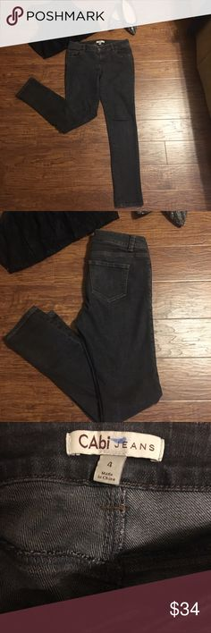 """CAbi jeans size 4 Size 4 CAbi jeans. Blackish gray color skinnies. Excellent preowned condition... no rips, no stains, no odors.                                                🚫MEASUREMENTS LAYING FLAT: Waist:  15.5"""" Hips:  17.5""""  Inseam:  29""""  Leg opening:  6"""" CAbi Jeans Skinny"""