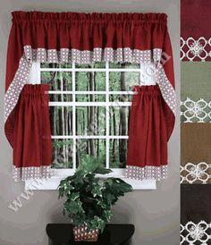 Salem Kitchen Curtains   Burgundy   Lorraine   Cafe U0026 Tiers Curtains