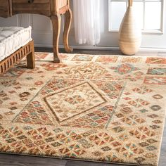 nuLOOM Southwestern Tribal Abstract Diamonds Gabbeh Beige Rug (5' x 7'5) #Nuloom #ContemporaryMoroccan
