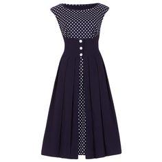 1950's Style Navy Polka Dot Dress / Dollydagger Boutique