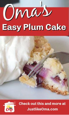 ❤️ Yummy Plum Streusel Cake made without yeast. So easy and so lecker, made just like Oma. Austrian Recipes, Best Italian Recipes, Favorite Recipes, German Recipes, Plum Recipes, Cake Recipes, Dessert Recipes, German Desserts, Just Desserts
