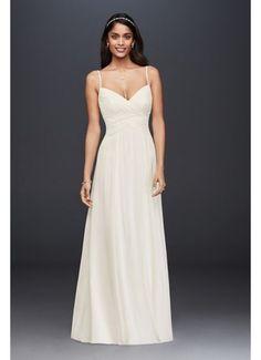 Ruched Bodice Chiffon A-Line Wedding Dress WG3856