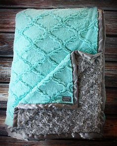 Minky Blanket, baby girl, blanket for girl, blue and grey, grey and tiffany blue, soft blanket, Lattice Print, Ruffle Blanket, Lovie, Silk