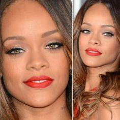 Rihanna divou com esse mix certeiro de sombra dourada perolada, marrom opaco esfumado (no côncavo e canto externo) e delineado. Nas maçãs pó...