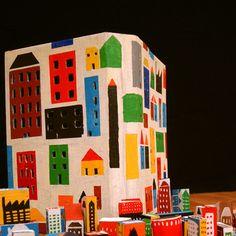 painted cardboard and blocks