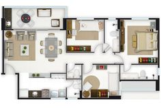 I like the game room on the north wall! Craftsman Floor Plans, House Floor Plans, Apartment Layout, Interior Design Living Room, Game Room, Home Projects, Interior And Exterior, House Design, Architecture