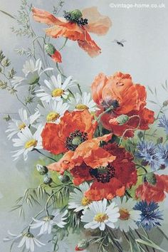 Vintage Home - Victorian Poppies and Daisies Print: www.vintage-home.co.uk: