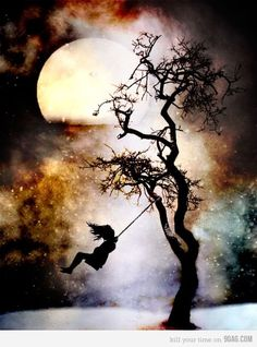Swinging in the moonlight.  Beautiful Vision!