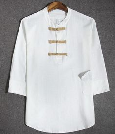 Retro Chinese Style White Linen Plus Size T-shirt for Men - iDreamMart.com
